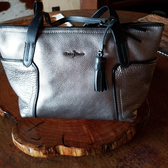 ef426bbbd Cole Haan Bags | Silver Leather Tote | Poshmark